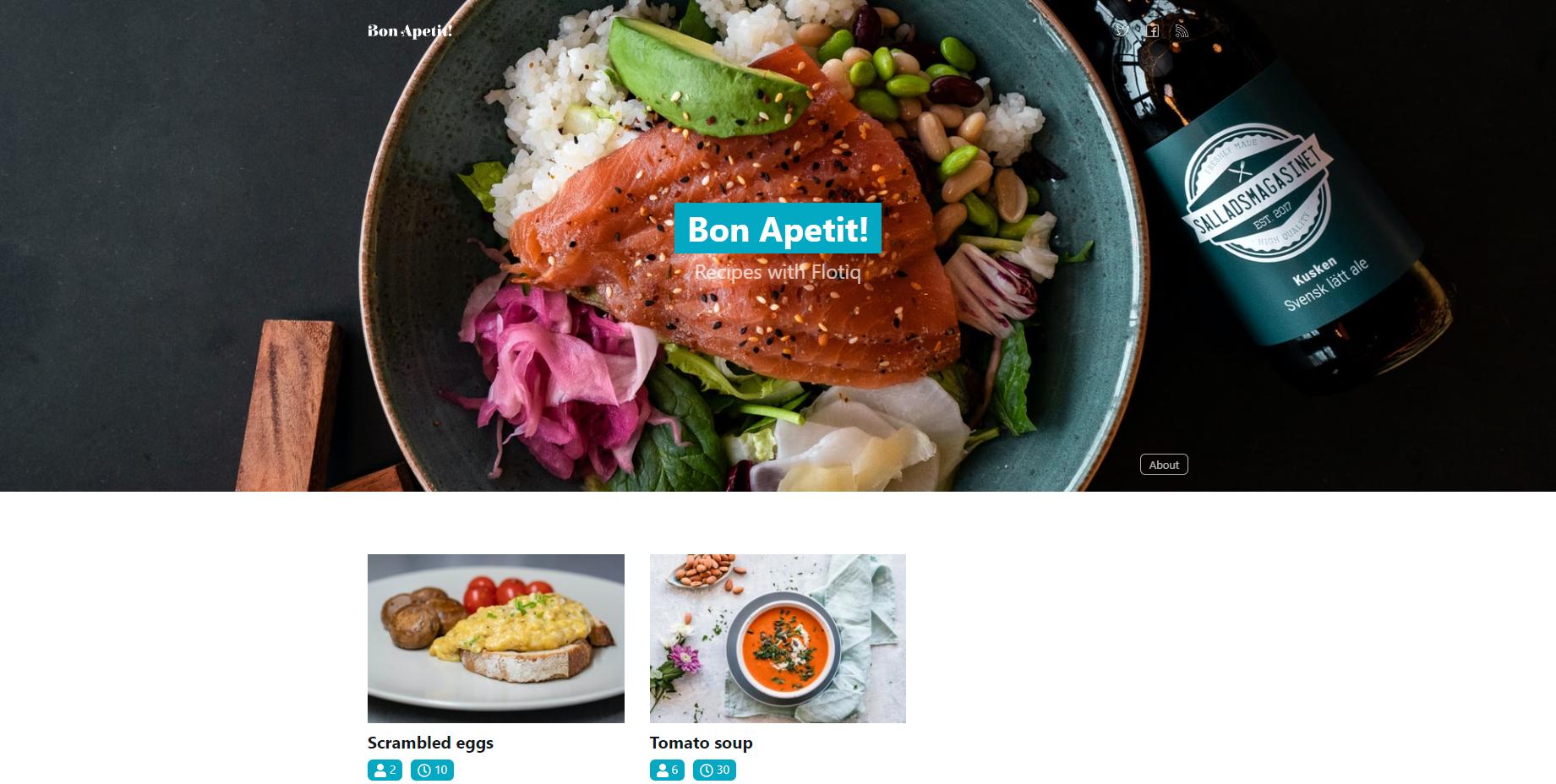 Recipes website built using Gatsby and Flotiq